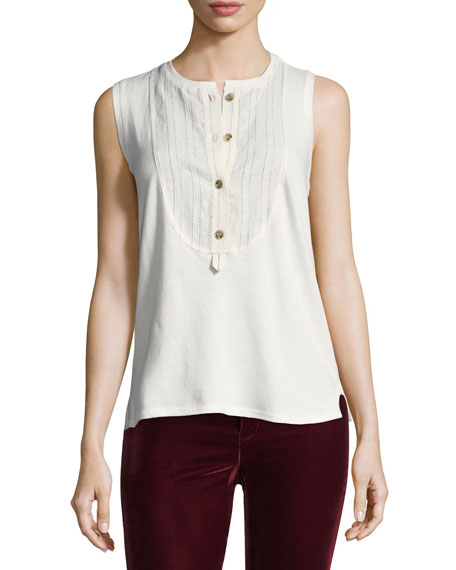 Sleeveless Henley Cotton Top
