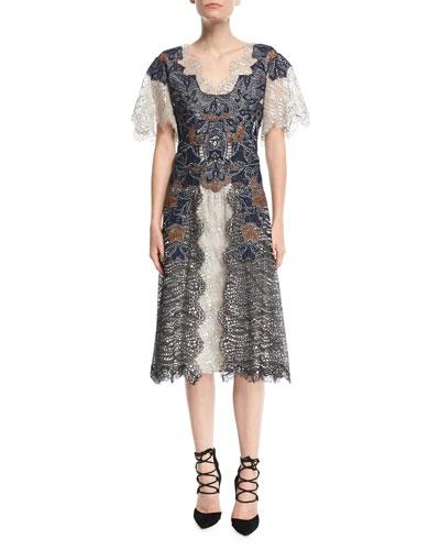 Dimensional Lurex® Flutter-Sleeve Lace Midi Dress