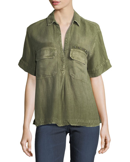 Anson Military-Inspired Short-Sleeve Twill Top