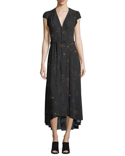 Daphne V-Neck Floral-Print Midi Dress