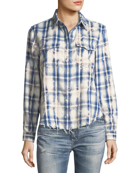 Beth Washed Grid-Print Snap-Front Cotton Shirt