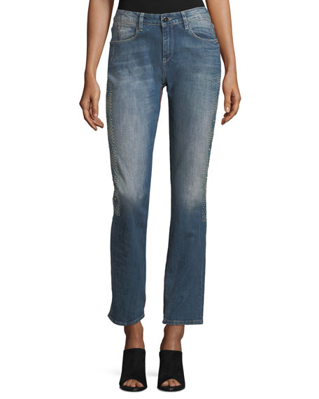 Stardust Beaded Straight-Leg Cropped Boyfriend Jeans