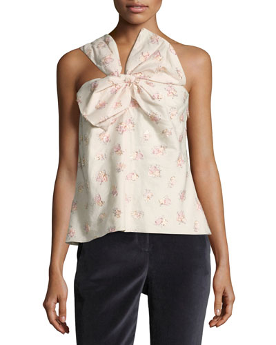 Floral-Jacquard One-Shoulder Bow Top
