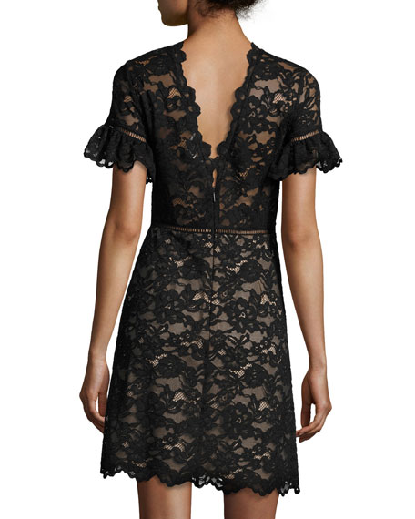 Short-Sleeve V-Neck Lace Dress