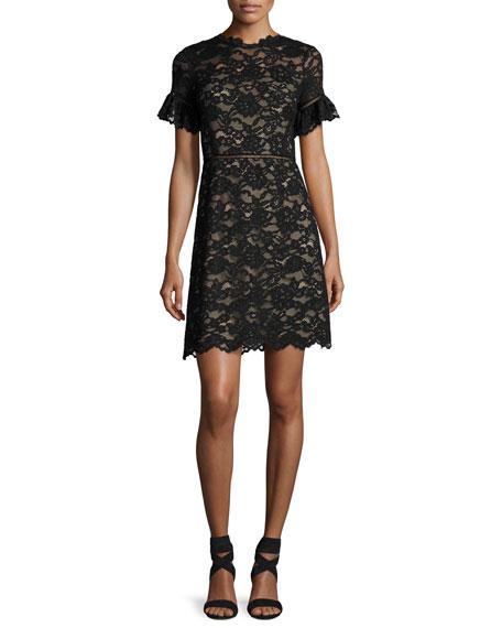 Short-Sleeve V-Neck Lace Dress