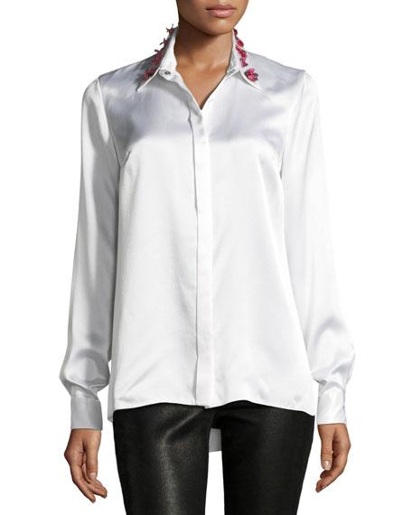 Wren Embellished-Collar Silk Blouse