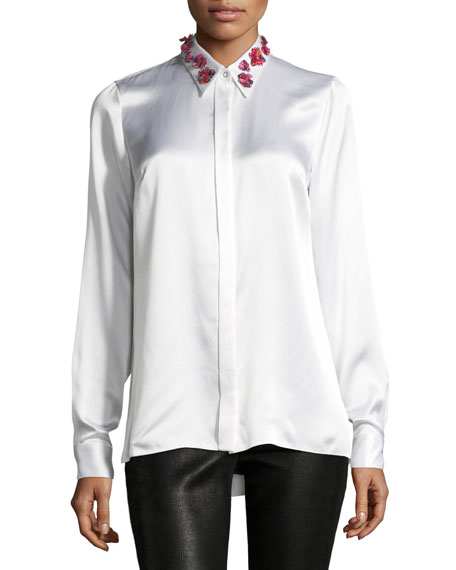 Wren Embellished-Collar Silk Blouse