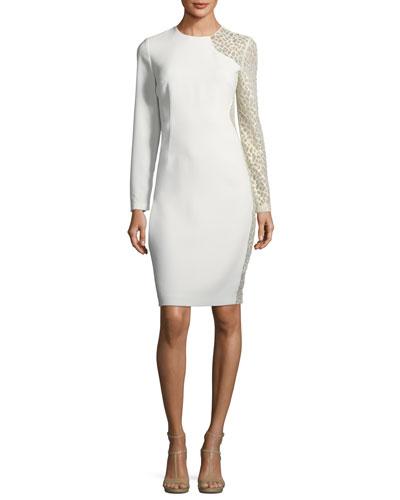 Devalynne Long-Sleeve Lace-Side Dress