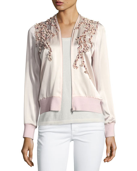 Preeya Appliqué Wool Bomber Jacket