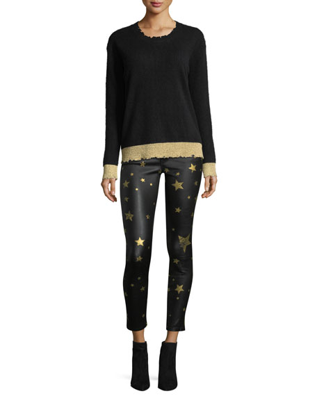 Prince Mid-Rise Skinny-Leg Leather Pants with Golden Star Graphics