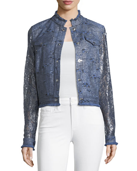 Meggy Lace-Sleeve Jacket