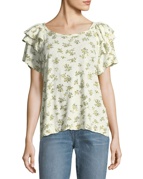 The Double Ruffle Linen-Cotton Tee