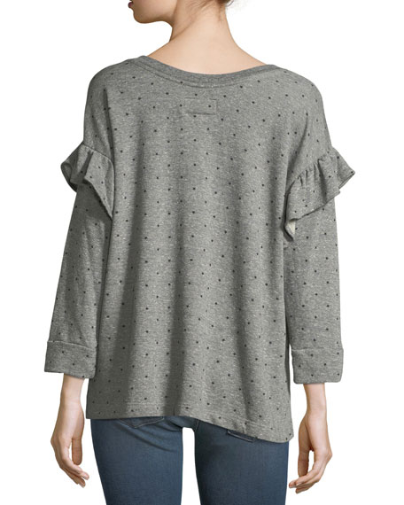 The Ruffle Star-Print Heathered Sweatshirt