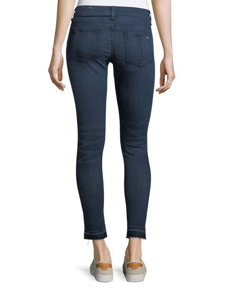 High-Rise Skinny-Leg Ankle Jeans w/ Released Hem