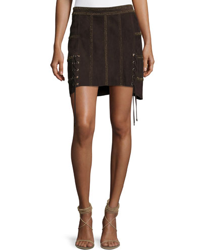 Beaded Suede Mini Skirt