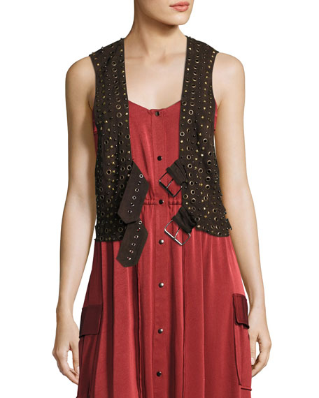 Studded Suede Vest w/ Grommets