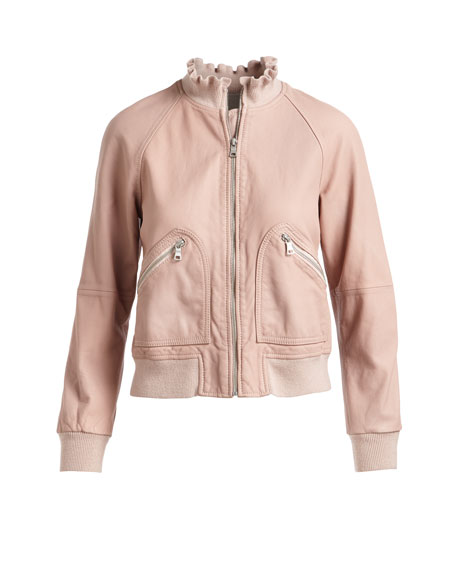 Lamb Leather Zip-Front Bomber Jacket