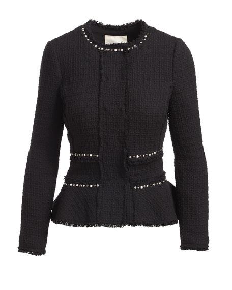 Textured Tweed Embellished Peplum Jacket