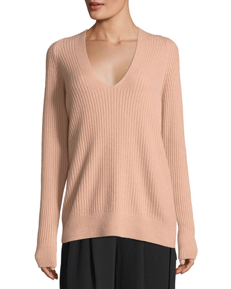 Raglan Ribbed Deep V-Neck Wool-Cashmere Sweater