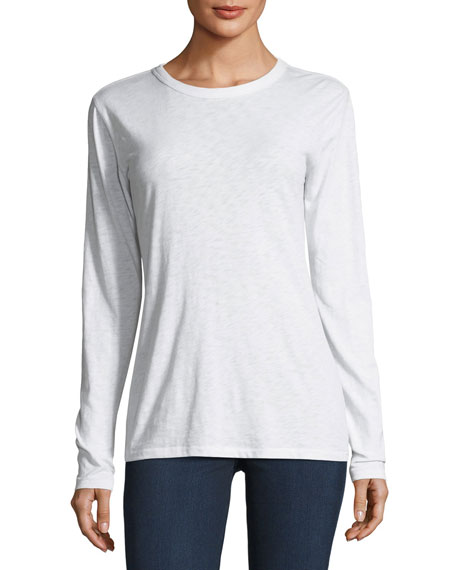 Crewneck Long-Sleeve Heathered Cotton Tee
