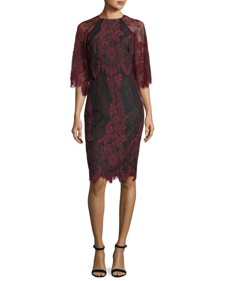 Badgley Mischka Collection High-Neck Lace Flutter-Sleeve Sheath
