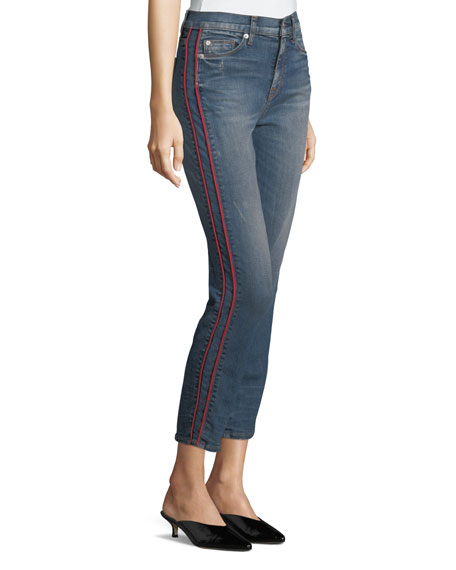 Zoey High-Rise Ankle Straight-Leg Jeans w/ Side Stripe