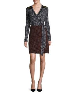 Mixed Dot-Print Jersey Wrap Dress