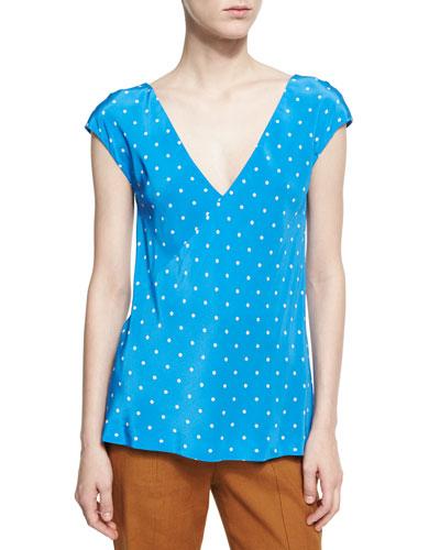 Short-Sleeve V-Neck Silk Blouse