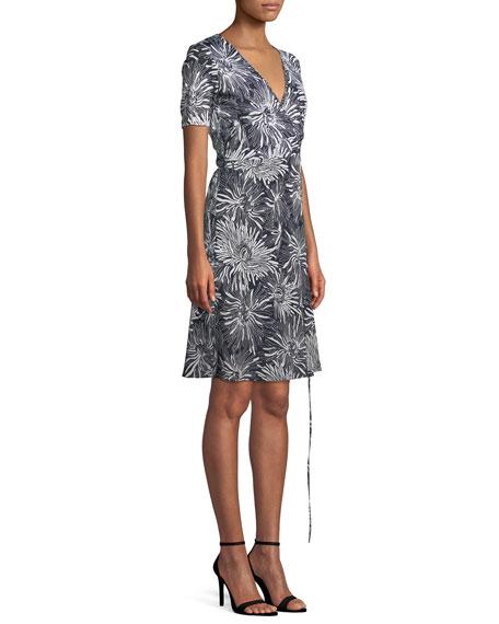 Short-Sleeve Floral-Print Wrap Dress