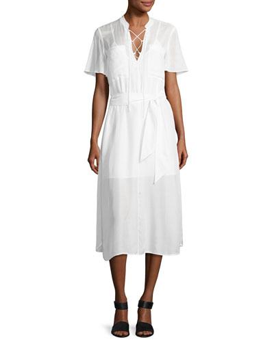 Lace-Up Midi Shirtdress