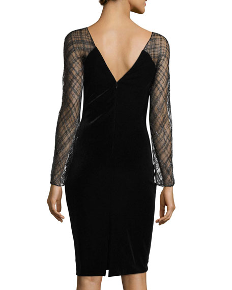 Beaded-Lace Sleeve Velvet Cocktail Dress