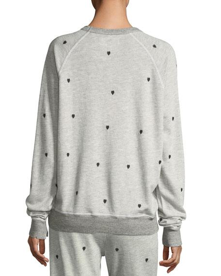 The College Sweatshirt w/ Mini Heart Embroidery