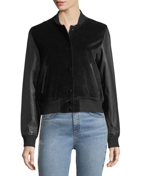 Camden Velveteen Varsity Jacket w/ Leather Sleeves