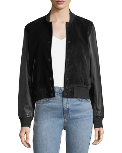 Camden Velveteen Varsity Jacket w/ Leather Sleeves