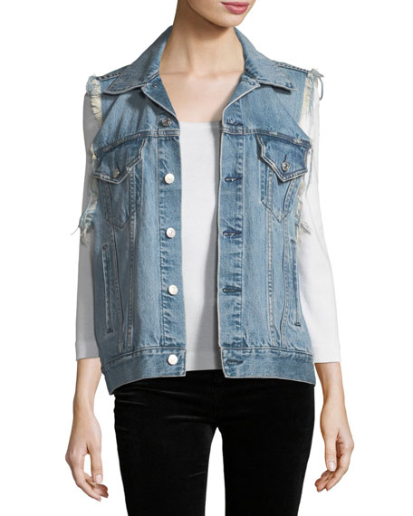 Patti Oversized Distressed Denim Vest