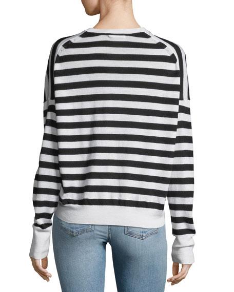 Bevan Striped V-Neck Wool Sweater