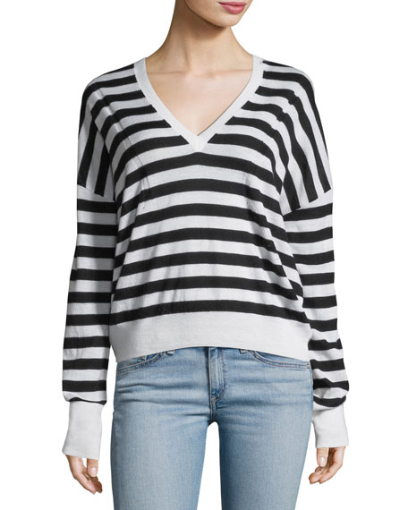 Bevan Striped V-Neck Wool Sweater