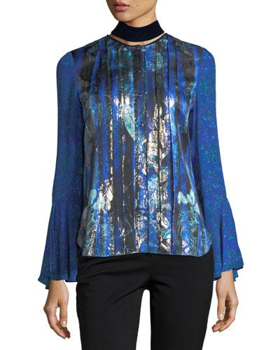 Izarra Floral-Print Blouse w/ Velvet Back