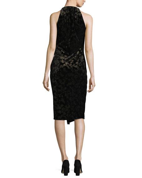 Belecia Sleeveless Faux-Wrap Velvet Dress