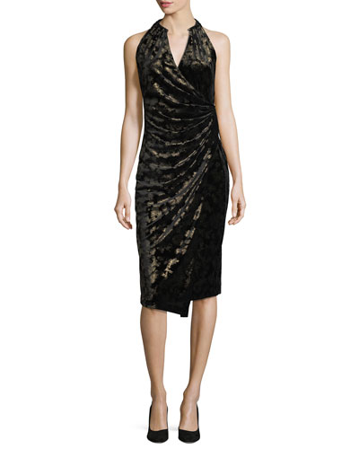 Belecia Sleeveless Faux-Wrap Velvet Dress