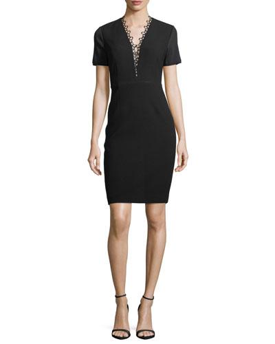 Saylah Short-Sleeve Lace-Trim Sheath Dress