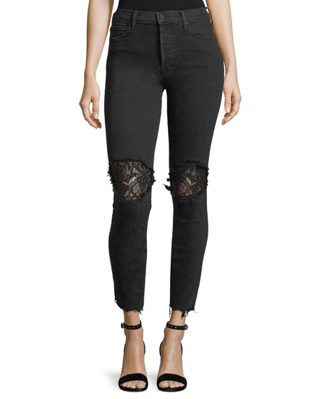 Super Stunner Ankle Fray Skinny-Leg Jeans w/ Lace Rip Knees