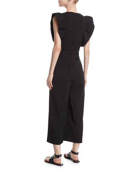 V-Neck Wide-Leg Stretch-Faille Jumpsuit