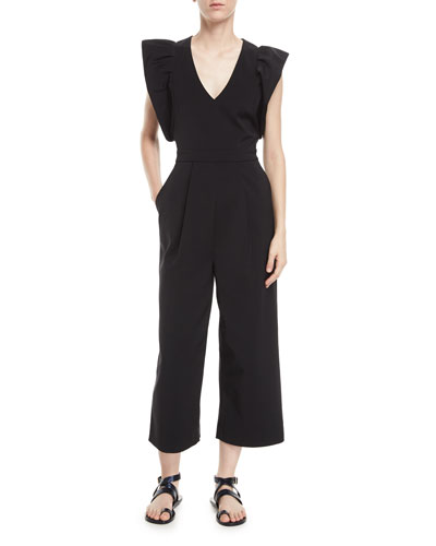 V-Neck Wide-Leg Stretch-Faille Jumpsuit