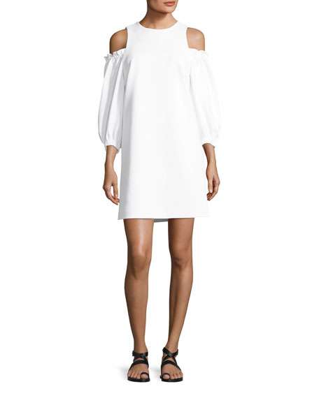 Cold-Shoulder Stretch-Crepe A-Line Day Dress