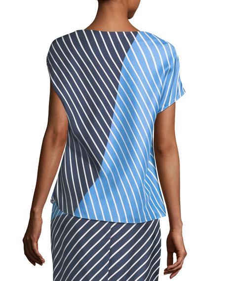 Delphina Colorblocked Striped Asymmetric Satin Top