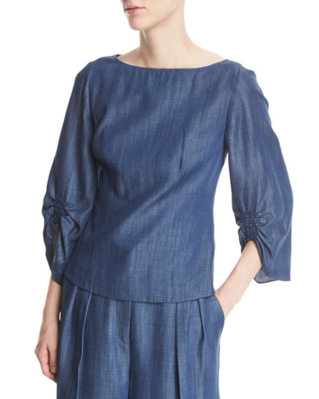 Boat-Neck Slim-Fit Chambray Top