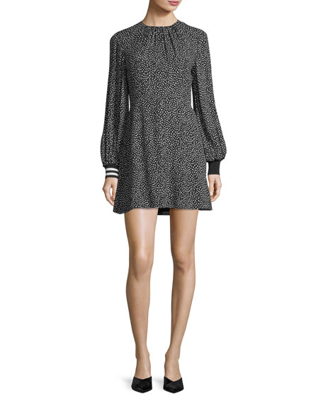 Martine Crewneck Printed A-Line Short Dress