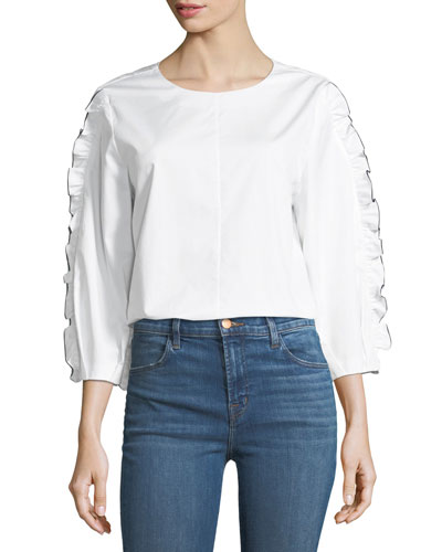 Spectator Crewneck Cotton Ruffle Top