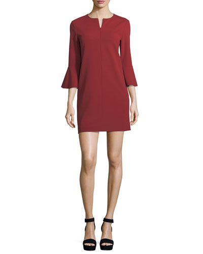 V-Neck Bell-Sleeve Stretch-Crepe Mini Dress
